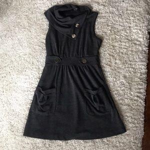 Grey Assymetrical Cowl Neck Sleeveless Dress M